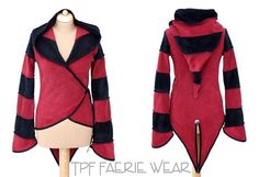 Un super confortablement fleece jacket de queue de TPF Faerie porter. avec une capuche lutin énorme, manches longues légèrement évasées et un front