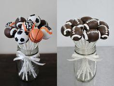 baseball football #sports theme birthday cake pops