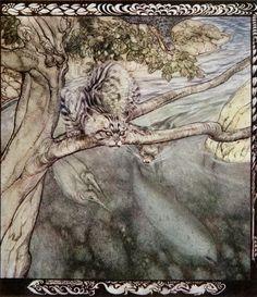 Irish Fairy Tales, The Story of Tuan Mac Cairill: Every beast pursued me... so that I got no rest, Arthur Rackham.