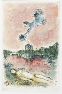 View over Notre-Dame, 1980, Marc Chagall Size: 116x75 cm