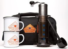 """Poler and Stumptown Camp Coffee ($125) Includes two custom mugs, carrying bag, AeroPress, Porlex hand burr grinder, and Stumptown's """"Holler Mountain Blend,"""" brew guide and instruction booklets. From The Official Coffee Lover's Camping Guide via Brit + Co."""
