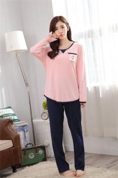 CW47407 Casual knitted Korean style pajamas a set for women