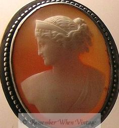Hand-Carved Vintage Shell Cameo in Silver