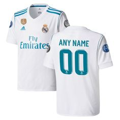 Real Madrid adidas Youth 2017/18 Home Replica Patch Custom Jersey - White