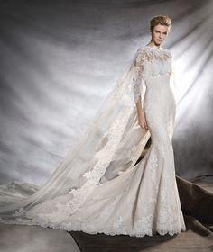 ORINGO - Vestido de novia de estilo sirena y talle bajo