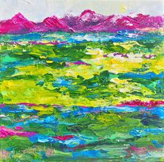 COLORFUL LANDSCAPE. Mixed media on textured small, stretched canvas 12 x 12 inches. $200.00