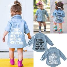 Winter Outfits For Girls, Girl Outfits, Casual Outfits, Denim Top, Denim Shirt, Long Sleeve Tops, Long Sleeve Shirts, Denim Button Down, Shirt Jacket
