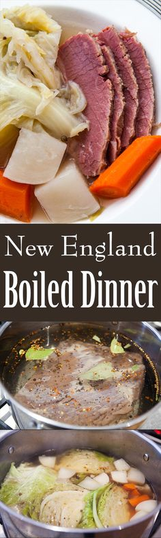 Something so comforting about New England Boiled Dinner! A one pot dish consisting of corned beef or plain brisket, cabbage, carrots and potatoes. On SimplyRecipes.com