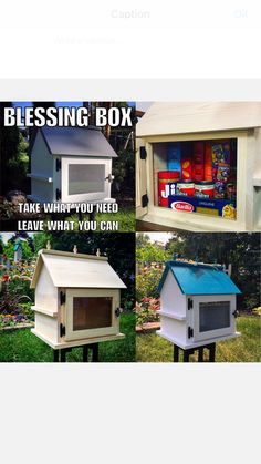 "Handcrafted Little Free Libraries make the most perfect Little Free Pantry! ❤️ Share items that can make all the difference for a family in need, from things like dry pasta, canned fruit, cereal, and peanut butter, to diapers and baby formula. Our little neighborhood outdoor libraries make perfect little ""Blessing Boxes""."
