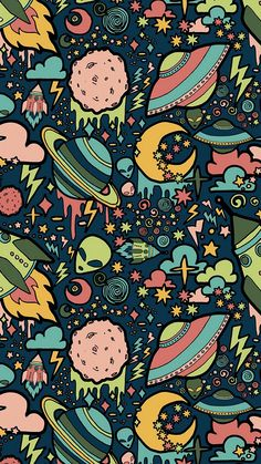 Texture, patterns, aliens, rockets, space wallpaper - Best of Wallpapers for Andriod and ios Graffiti Wallpaper Iphone, Pop Art Wallpaper, Trippy Wallpaper, Wallpaper Space, Iphone Background Wallpaper, Aesthetic Iphone Wallpaper, Galaxy Wallpaper, Aesthetic Wallpapers, Pattern Wallpaper Iphone