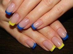 Yellow and blue French mani :: one1lady.com :: #nail #nails #nailart #manicure