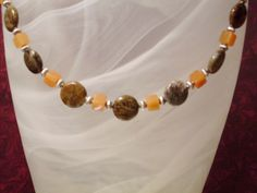 Snakeskin Agate and Red Aventurine Necklace $27, #RomanticThoughts.etsy.com, #jewelry