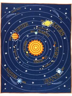 All Solar System's Go Quilt (Twin) | The Land of Nod $199 (ceiling mural?)