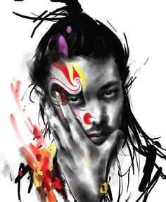 Makeup in Chinese Opera by Jung Shan. Chinese artist Rola Chang, aka Jung Shan from Taiwan. Asian inspired ink digital paintings combining eastern and western elements http://jungshan.deviantart.com/ http://jung-shan.blogspot.com/?m=1