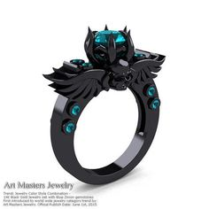 Items similar to Art Masters Classic Winged Skull Black Gold Ct Blue Sapphire Solitaire Engagement Ring on Etsy Black Hills Gold Jewelry, Black Jewelry, Jewelry Show, Fine Jewelry, Women Jewelry, Blue Zircon, Blue Sapphire, Diamond Solitaire Rings, Black Rings
