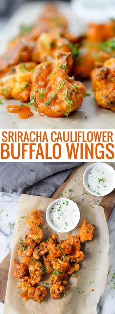 Sriracha Cauliflower Buffalo Wings! Have you tried vegan cauliflower buffalo wings yet? If you love spicy food, you'll want to try these. Crispy cauliflower wings coated with a sriracha buffalo sauce.