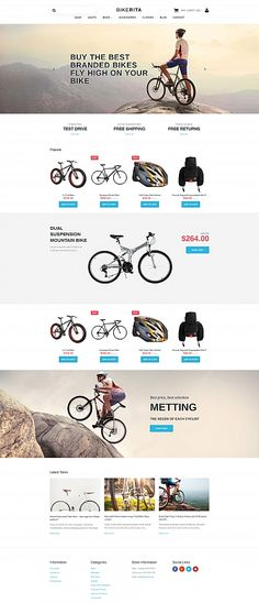 More than website templates available! Bicycle Store, Ecommerce Template, Ui Web, Website Layout, Interface Design, Web Design Inspiration, Store Design, Internet Marketing, Cool Words