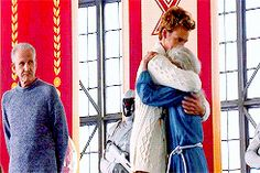 Catching Fire Finnick and Mags! This is so sad!!!  Finnick is rocking her back and forth and Mags volunteered for Annie! Ugh! Finnick and Mags have one of the best relationships!! :'(