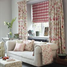 Clarke and Clarke - Genevieve Fabric Collection - Fabric and cushions printed with small flowers and stripes, large floral curtains,checked blinds, cream sofa, patterned armchair and footstool Country Cottage Living Room, Living Room Decor, Country Style Curtains, Sala Grande, House Blinds, Beautiful Curtains, Floral Curtains, Cottage Design, Soft Furnishings