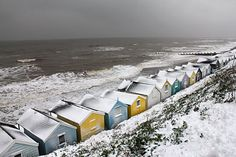 Beach huts and the rough North Sea Seaside Beach, Beach Huts, Beach Cottages, Coastal Art, North Sea, The Fresh, Alaska, Norway, Places To See