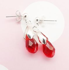 Ruby Red crystal glass sparkle drop earrings . silver tone dangle small glam elegant jewelry