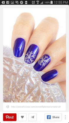 Snowflake nails, royal blue & silver