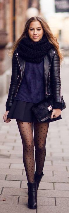 Love the infinity scarf, skirt, and tights!! In fact... Just the whole outfit rocks!