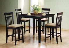 Counter Dining Room Wood Table Set Chair Kitchen Chairs by Coaster Home Furnishings. $406.31. dining sets. square dining set. dining room set. dining table set. dining set furniture. 5pc Cappuccino Finish Counter Height Dining Table & 4 Bar Stool/Chair Set This is a brand new 5 pieces Contemporary Style Counter Height Table Set. The set is designed in a deep cappuccino finish wood with 4 matching high chairs padded with beige color fabric. This elegant dining table and c...