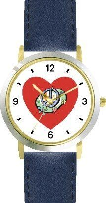 Red Heart - Peace Sign & Flowers - Love & Friendship Theme - WATCHBUDDY® DELUXE TWO-TONE THEME WATCH - Arabic Numbers - Blue Leather Strap-Children's Size-Small ( Boy's Size & Girl's Size ) WatchBuddy. $49.95. Save 38% Off!