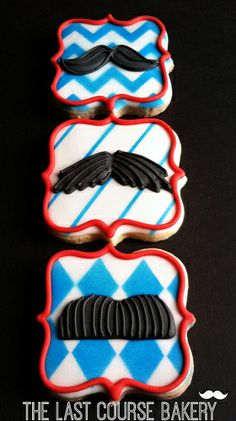 Blue and Red Mustache Cookies - perfect for Mustache March