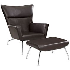 Class Leather Lounge Chair and Ottoman
