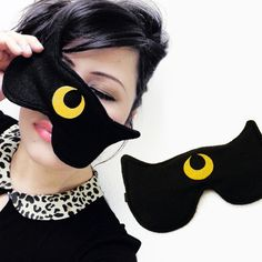 Luna Sailor Moon Inspired Sleepmask - Black Cat Sleep Mask. $10.00, via Etsy.