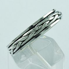 CROSSING DESIGN 925 STERLING SILVER SPINNER RING SIZE 13 US    eBay