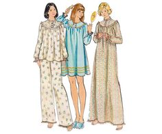 70 Pajamas Nightgown Pattern Butterick by allthepreciousthings