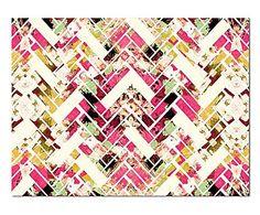 Cozamia: Digitaldruck Wild Herringbone in Pink, 121 X 91 CM