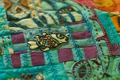 Gorgeous hand quilting in wool with embroidery thread -  by stitchindye