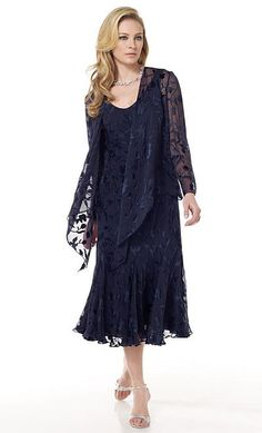 Two-piece silk burnout dress set, sleeveless ballerina-length soft A-line tank dress with gore insets, matching cardigan-style jacket with long sleeves.