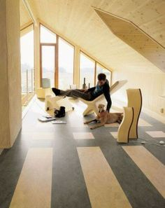 Nice chill out zone with glazed gable end opening up the views! #loftdesign