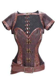 Look like a steampunk warrior with our Atomic Brown Steampunk Steel Boned Brocade and Faux Leather Overbust Corset. Get it here: https://atomicjaneclothing.com/products/atomic-black-steampunk-steel-boned-brocade-and-faux-leather-overbust-corset