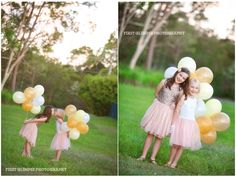 Young sisters outdoors with yellow, gold and while balloons