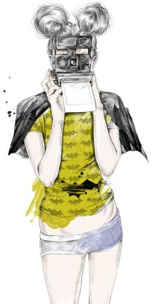 Truly love this illustration by Esra Roise. It has everything.....Camera, hair bunches, Batman, cape, hotpants! Lush!!
