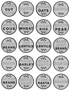 These modern black and white pantry labels, designed by Lemon Thistle / Colleen … Spice Jar Labels, Canning Labels, Pantry Labels, Printable Labels, Printables, Free Printable, White Pantry, Pantry Shelving, Tags