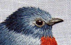 вышивка гладью птица снегирь