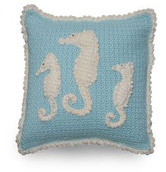 Seahorses and Starfish Crochet Pillow Pattern: Seahorses, Starfish, Beach Decor, Beach Cottage