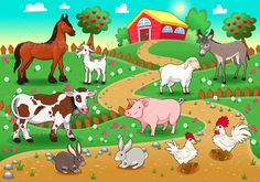 Farm animals with background. Vector and cartoon illustration , Farm animals with background. Vector and cartoon illustration , Farm animals with background. Vector and cartoon illustration , Tier Wallpaper, Animal Wallpaper, Animal Paintings, Animal Drawings, Farm Animals, Funny Animals, Animal Pictures For Kids, Background Clipart, Sheep Farm