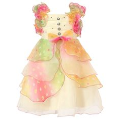 Richie House Girl's Cream Dress with Multilayered Pastel Ruffles and Pearl Accents RH0920-B-4/5-FBA