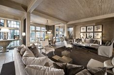 Pecky cypress wood adds texture and depth to the salon's gray-taupe color scheme. (Photo by John Lewis)