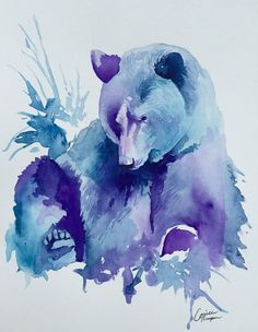 Original Watercolor Grizzly Bear by AprilleStudio on Etsy