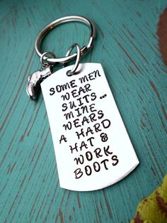 Hey, I found this really awesome Etsy listing at https://www.etsy.com/listing/184716747/hard-hat-and-boots-keychain-oilfield