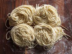 Ramen Noodles You can't have a bowl of ramen without wheat-based alkaline noodles.You can't have a bowl of ramen without wheat-based alkaline noodles. Ramen Noodle Recipes Homemade, Homemade Pasta, Ramen Noodles Recipe, Garlic Noodles, Serious Eats, Hot Ramen, Real Ramen, Asian Recipes, Ethnic Recipes